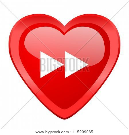 rewind red heart valentine glossy web icon