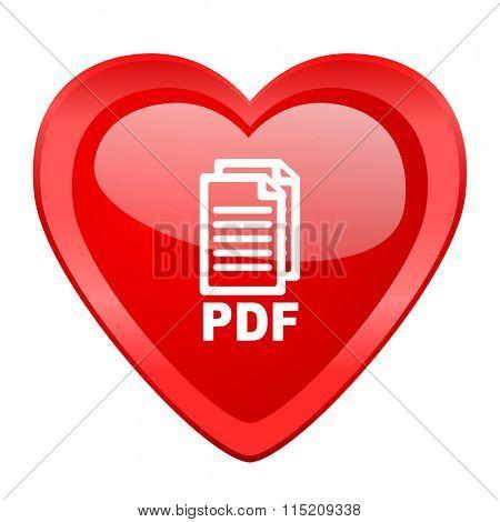 pdf red heart valentine glossy web icon,