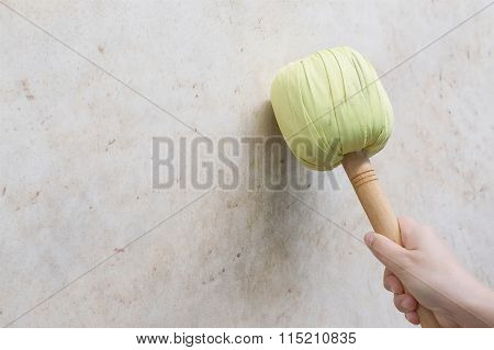 Hand Of Woman Hold Green Drumstick Hit On Battle Drum