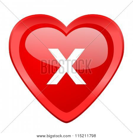 cancel red heart valentine glossy web icon