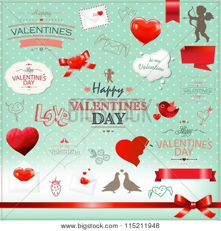 Big Set Valentines Day Collection With Gradient Mesh, Vector Illustration
