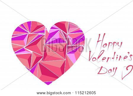 Pink stylized red heart close up with congratulations in honor of the holiday Valentine's day in v