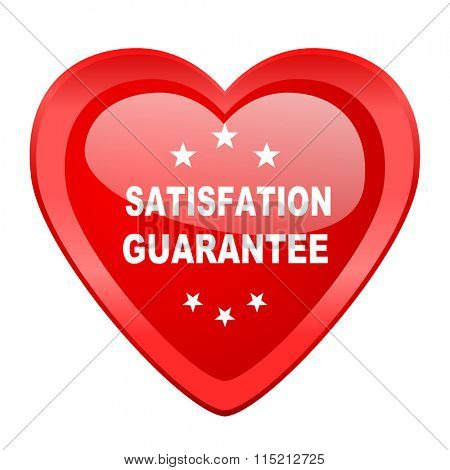 satisfaction guarantee red heart valentine glossy web icon