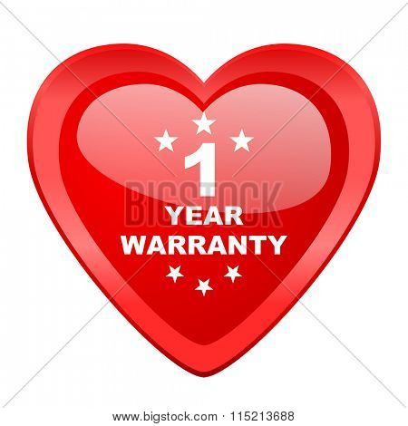 warranty guarantee 1 year red heart valentine glossy web icon