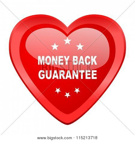 money back guarantee red heart valentine glossy web icon