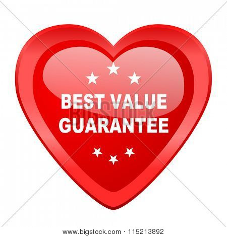 best value guarantee red heart valentine glossy web icon