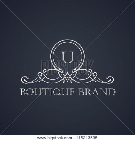 Vintage luxury emblem. Elegant Calligraphic pattern on logo. Black and white monogram U - Raster copy