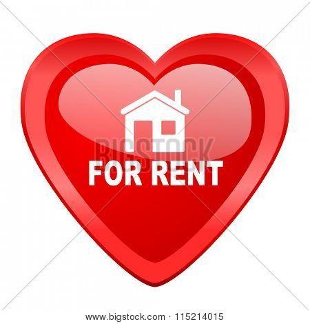 for rent red heart valentine glossy web icon