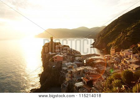 Vernazza Village At Sunset, Cinque Terre, Italy