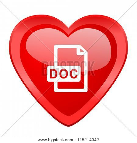 doc file red heart valentine glossy web icon