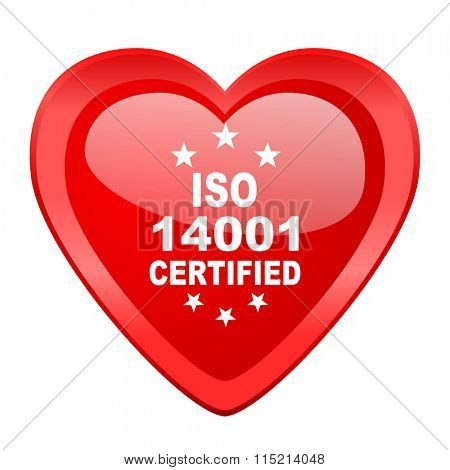 iso 14001 red heart valentine glossy web icon
