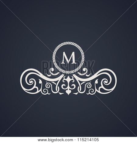 Vintage luxury emblem. Elegant Calligraphic pattern on logo. Black and white monogram M - Raster copy