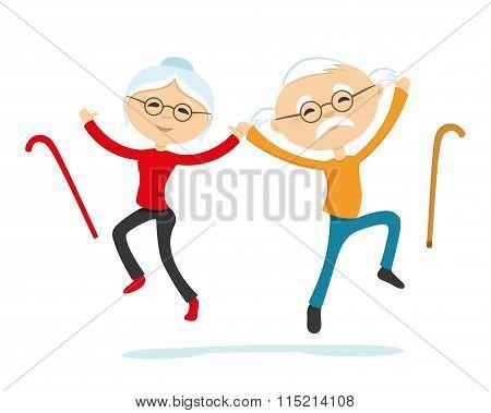 Energetic elderly couple