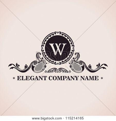 Luxury logo set. Calligraphic pattern elegant decor elements. Vintage ornament W - Raster copy