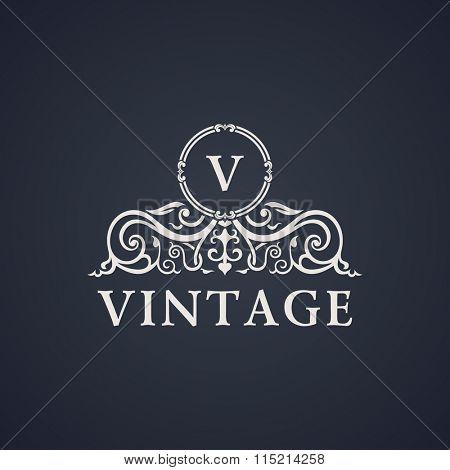 Vintage luxury emblem. Elegant Calligraphic pattern on logo. Black and white monogram V - Raster copy