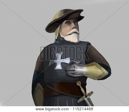 Illustration. Half-length portrait of the old knight errant in plate gauntlets with a sword