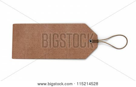 Cardboard Label Isolated On White Background. Blank Cardboard Tag Tied With Brown String For Your De
