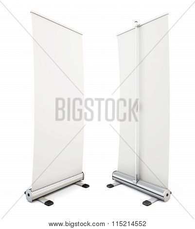 Roll Up Banner Isolated On White Background. 3D.