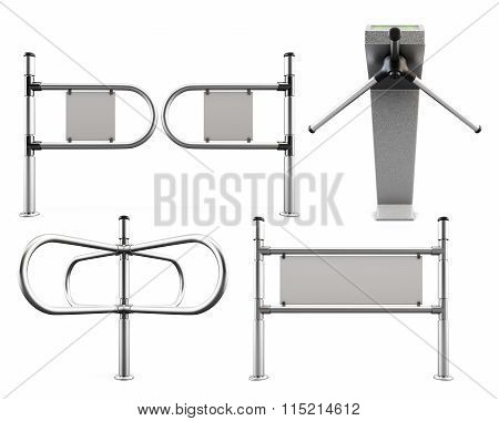 Set Of Metal Turnstiles And Partitions Isolated On White Background. 3D Render.