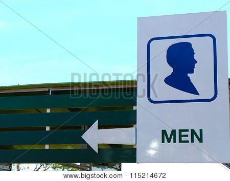 Restroom Signs Illustration with blue sky