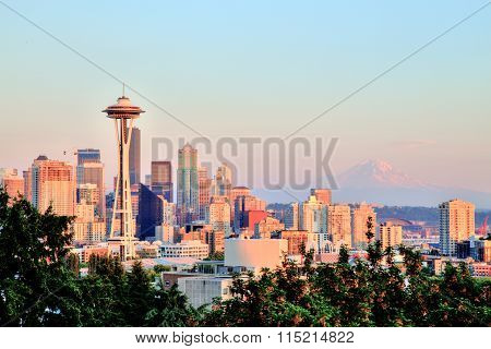 Seattle Cityscape With Mt. Rainier In The Background At Sunset, Washington, Usa