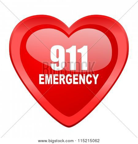 number emergency 911 red heart valentine glossy web icon