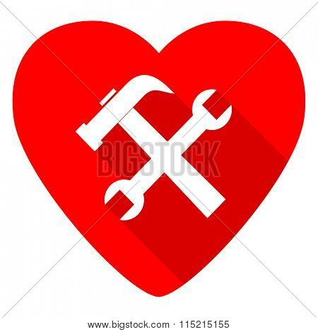 tool red heart valentine flat icon
