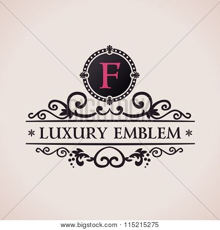Luxury logo. Calligraphic pattern elegant decor elements. Vintage ornament F - Raster copy