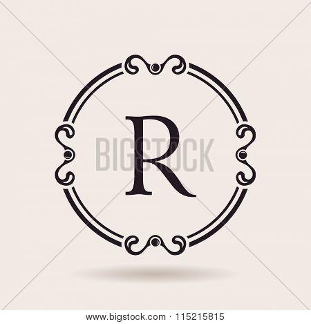 frames design templates. Vintage labels and badges for logos. Alphabet letter R - Raster copy