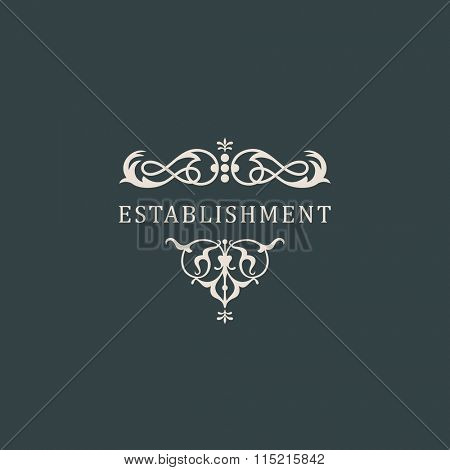 Vintage luxury emblem and logo. Abstract fashion ethnic print. Calligraphic flourishes. Black and white ornament. Business sign for Restaurant, Royalty, Cafe, Hotel, Heraldic stamp - Raster copy