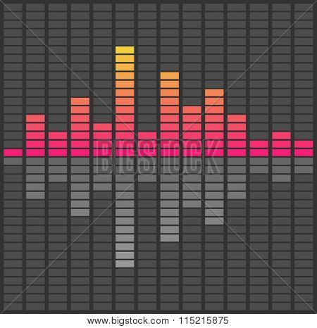 Abstract sound waves equalizer. Audio pulse music illustration - Raster copy