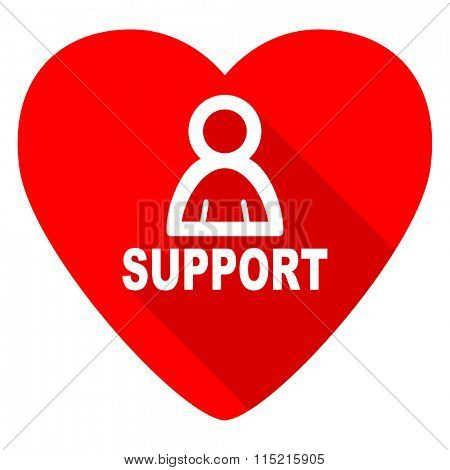 support red heart valentine flat icon
