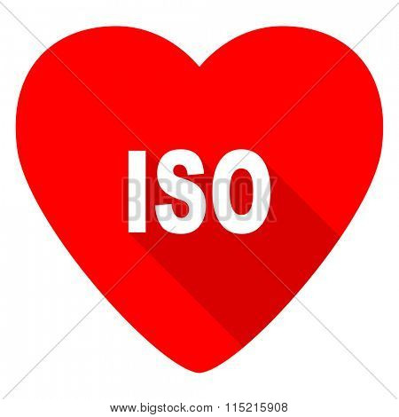 iso red heart valentine flat icon