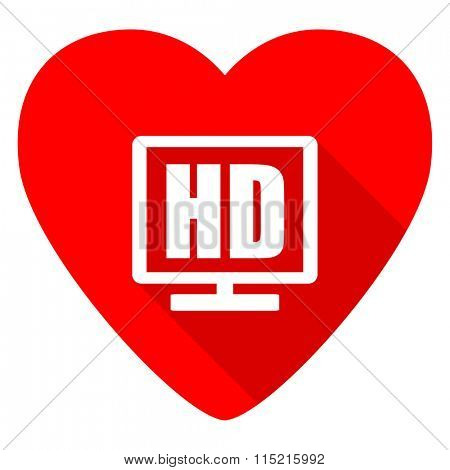 hd display red heart valentine flat icon