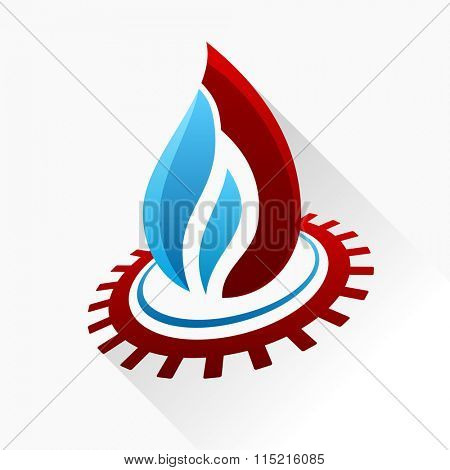 symbol fire with gear. Blue and red flame glass icon with long shadow isolated - Raster copy