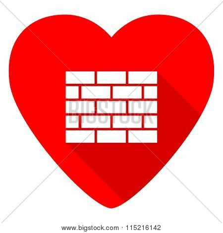 firewall red heart valentine flat icon