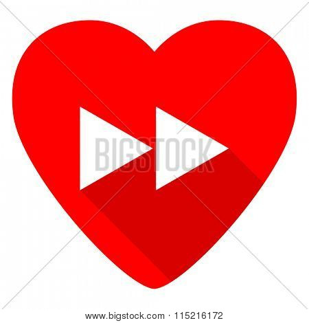 rewind red heart valentine flat icon