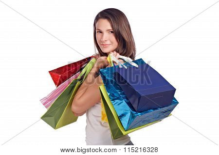 Young Woman With Shopping Bags Positive