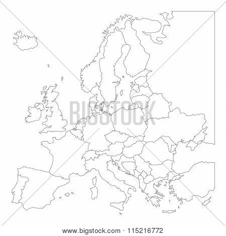 Blank outline map of Europe