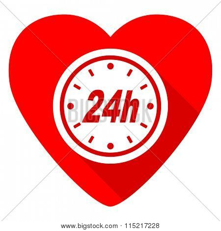 24h red heart valentine flat icon