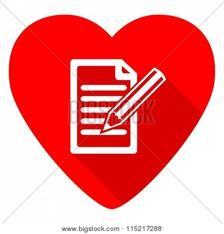 subscribe red heart valentine flat icon