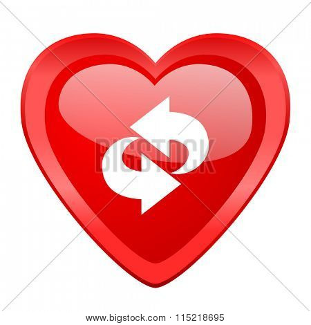 rotation red heart valentine glossy web icon