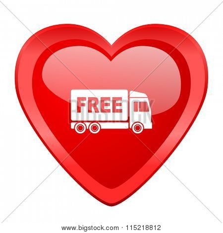 free delivery red heart valentine glossy web icon