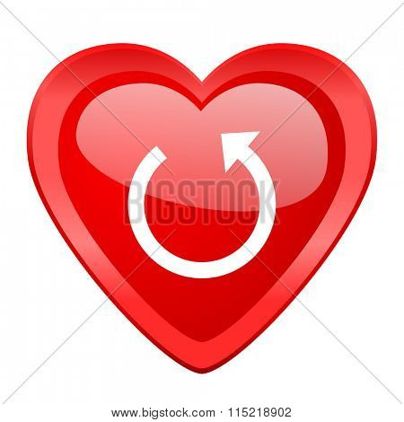 rotate red heart valentine glossy web icon