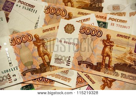 Heap Of Five Thousand Russian Rubles Banknotes