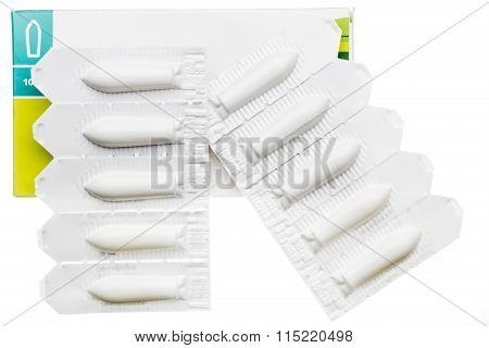 Vaginal suppository in plastic strip pack