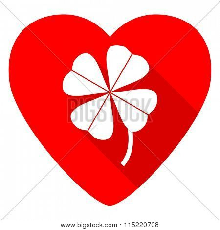 four-leaf clover red heart valentine flat icon