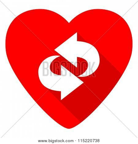 rotation red heart valentine flat icon
