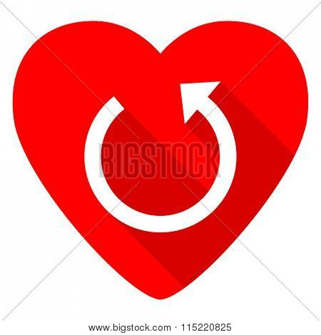 rotate red heart valentine flat icon