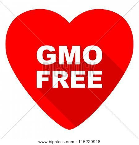 gmo free red heart valentine flat icon